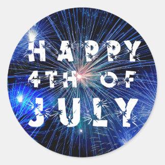 Adesivo Redondo 4o de fogos-de-artifício de julho no partido azul