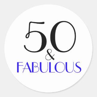 Adesivo Redondo 50 & aniversário da tipografia fabulosa de | 50th