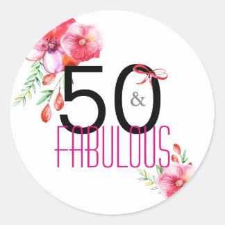 Adesivo Redondo 50 e 50th festa de aniversário elegante fabulosa