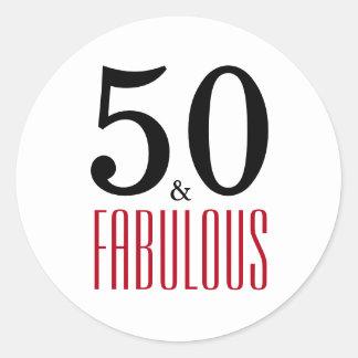 Adesivo Redondo 50 e aniversário da tipografia fabulosa de | 50th