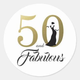 Adesivo Redondo 50 e aniversário da tipografia fabulosa do ouro |