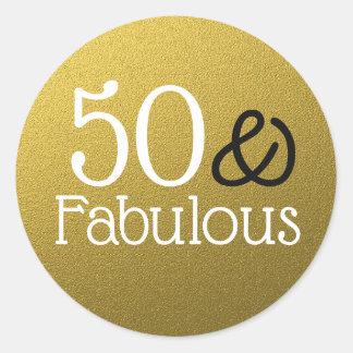 Adesivo Redondo 50 e aniversário fabuloso do brilho do ouro