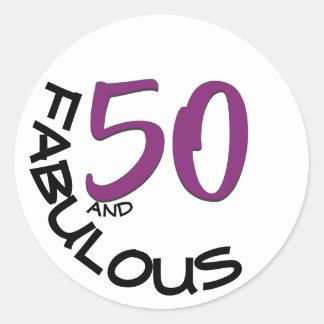 "Adesivo Redondo ""50 e tipografia roxa & preta"" de | fabuloso"