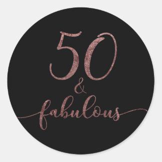 """Adesivo Redondo """"50 &"""" elogio cor-de-rosa fabuloso 2 do"""