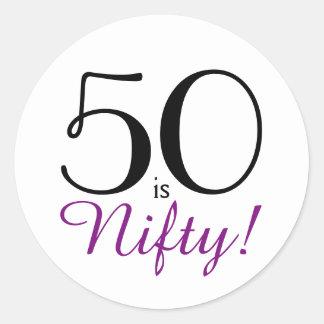 Adesivo Redondo 50 são astuciosos! 50th Festa de aniversário