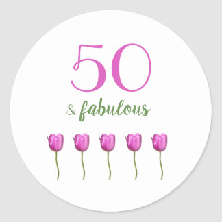 Adesivo Redondo 50 & tulipa fabulosa da magenta da tipografia do
