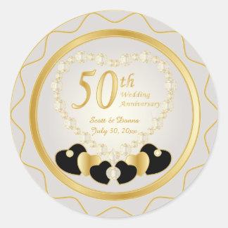 Adesivo Redondo 50th Aniversário de casamento dourado
