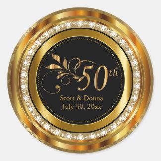 Adesivo Redondo 50th aniversário de casamento dourado elegante