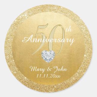 Adesivo Redondo 50th brilho personalizado do ouro do casamento do