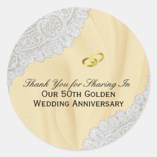 Adesivo Redondo 50th Obrigado do aniversário de casamento dourado