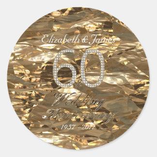 Adesivo Redondo 60th Aniversário de casamento do diamante do