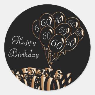 Adesivo Redondo 60th aniversário feliz