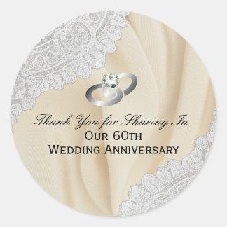 Adesivo Redondo 60th Obrigado do aniversário de casamento do