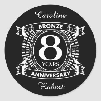 Adesivo Redondo 8o bronze do aniversário de casamento