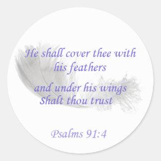 Adesivo Redondo 91:4 dos salmos cobrirá o thee com suas penas