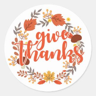 Adesivo Redondo A acção de graças feliz   dá obrigados