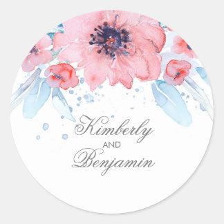 Adesivo Redondo A aguarela azul e cor-de-rosa floresce o casamento