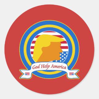 Adesivo Redondo A ajuda América do deus resiste o anti trunfo