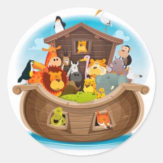 Adesivo Redondo A arca de Noah com animais da selva