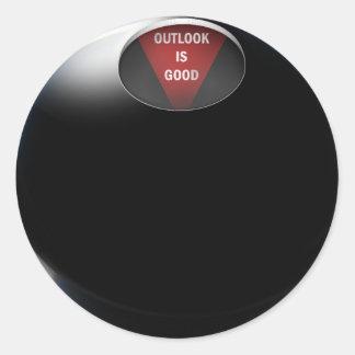 """Adesivo Redondo A bola da mágica 8 diz, a """"probabilidade é boa """""""