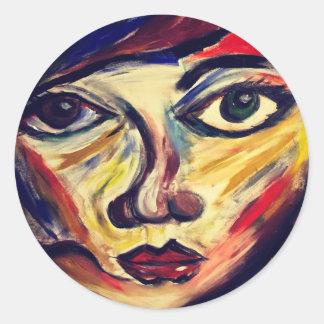 Adesivo Redondo A cara da mulher abstrata