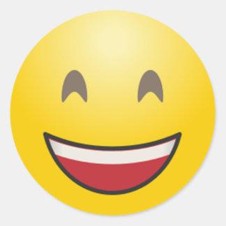 Adesivo Redondo A cara de sorriso de Emoji com boca aberta &