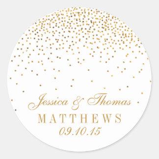 Adesivo Redondo A coleção Glam do casamento dos confetes do ouro