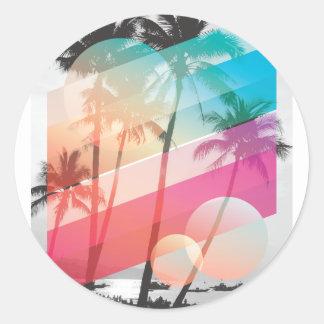 Adesivo Redondo A cor moderna listra o fundo das árvores de coco