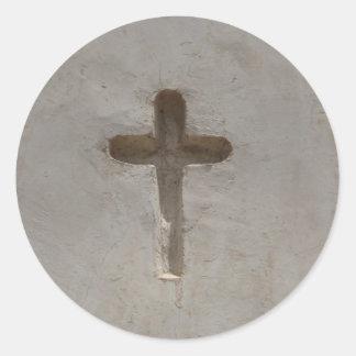 Adesivo Redondo A cruz cristã primitiva personaliza a bíblia
