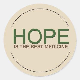 Adesivo Redondo A esperança é a melhor medicina
