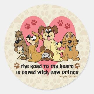 Adesivo Redondo A estrada a meus cães do coração