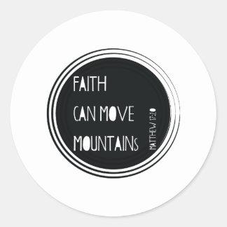 """Adesivo Redondo A """"fé pode mover verso da bíblia das montanhas"""""""