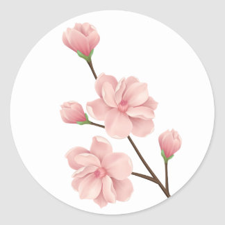 Adesivo Redondo A flor de cerejeira cor-de-rosa floral floresce a