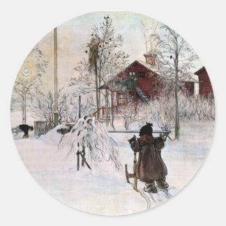 Adesivo Redondo A jarda e o Lavagem-House, Carl Larsson