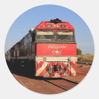 Adesivo Redondo A locomotiva do trem de Ghan, Darwin