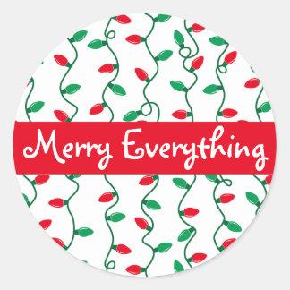 Adesivo Redondo A luz de Natal listra cartões de natal