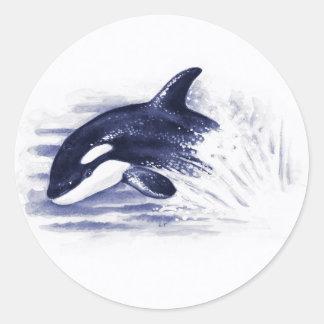 Adesivo Redondo A orca do bebê salta