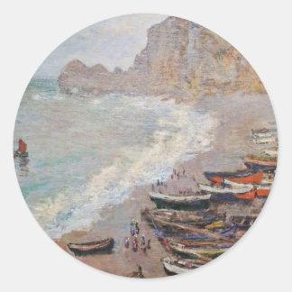 Adesivo Redondo A praia em Etretat - Claude Monet