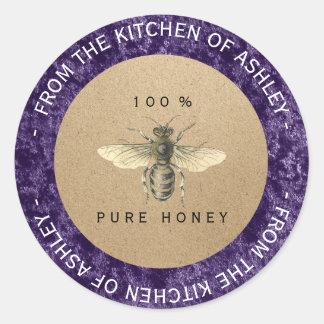 Adesivo Redondo Abelha caseiro Amethyst roxa de Kraft da cozinha