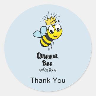 Adesivo Redondo Abelha de rainha bonito com obrigado da coroa você