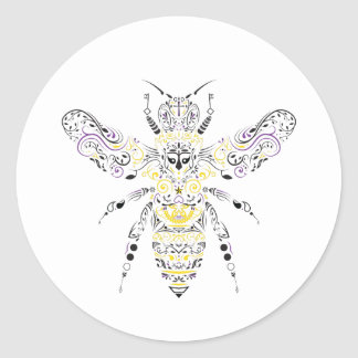 Adesivo Redondo abelha ornamentado do mel