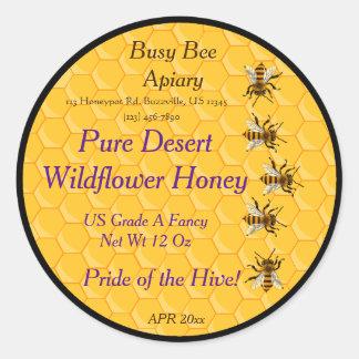 Adesivo Redondo Abelhas e favo de mel com anel preto do fundo