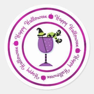 Adesivo Redondo Abóbora & cocktail roxo o Dia das Bruxas feliz da