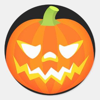 Adesivo Redondo Abóbora Emoji do Dia das Bruxas