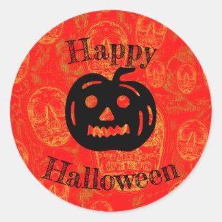 Adesivo Redondo Abóbora feliz do Dia das Bruxas - fundo do crânio