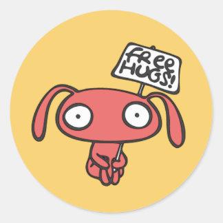 Adesivo Redondo Abraços de coelho livres