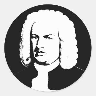 Adesivo Redondo Abstractamente e Johann Sebastian Bach em preto