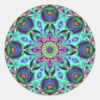 Adesivo Redondo Abstrato da mandala de turquesa
