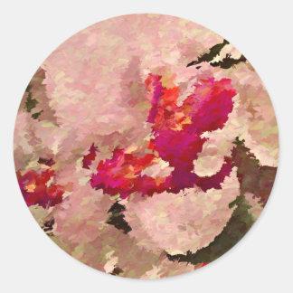 Adesivo Redondo Abstrato vermelho e branco da orquídea