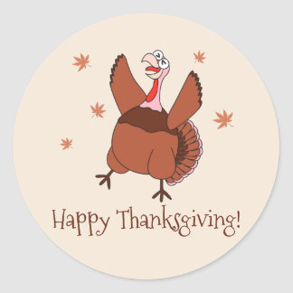 Adesivo Redondo Acção de graças feliz Turquia engraçada